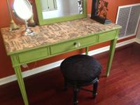 Vanity DESK, WROUGHT IRON STOOL WITH VELVET FABRIC, AND