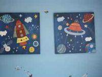 CUTE WALL ART FOR KIDS/BABY ROOM. ROCKET WALL ART TAKE