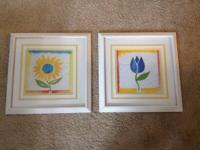 Set of two prints with white wooden frames. $10 or best