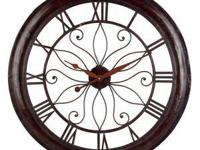 "Brand new OPEN BACK WALL CLOCK 30""D RUST Located at506"