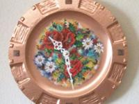 Country Style Wall Clock. Hand painted flower design on