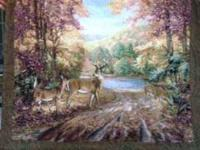Nice deer tapestry that hangs on the wall.  will be on