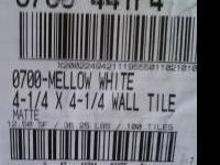 4 1/4 x 4 1/4 wall tile...mellow white...100 tiles per