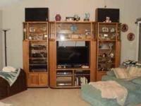 Beautiful Large Oak Wall Unit or Entertainment Center.