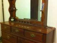 Walnut bedroom set includes the two dressers shown in