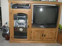 Must sell ~Solid Wood Walnut Entertainment Unit . It
