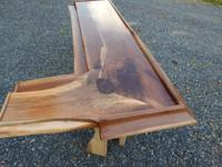 "2.5"" thick solid Walnut 102"" long 52""on L side 30"" wide"