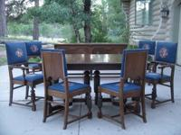 8 Piece Dining Room Set of Solid Walnut.  Very heavy,