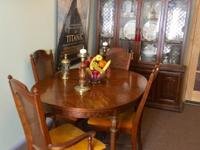 Walnut Dinning Room Table with Huge Lighted Two Piece