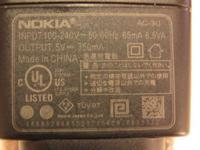 Wanted: Nokia cell phone charger. Model AC3U. Output 5V