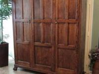 Superbe ▻WARDROBE ARMOIRE Mission Oak HUGE TRIPLE DOOR With.
