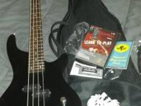 Washburn Lyon Electric Bass 4 string Guitar Black dark