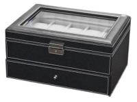 View Box 20 Mens Black Leather Display Glass Top