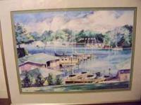 Painting believed to be of White Lake Marina, water