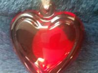 New in box, bright red heart sharpened pendant ready