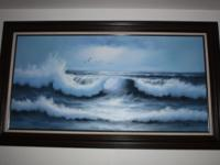 Beautiful framed wave painting in excellent condition!