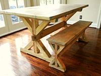 Rectangle-shaped Farmhouse Trestle Table Includes a