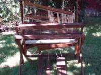 Floor loom for sale, folds up for easy storage. Opens