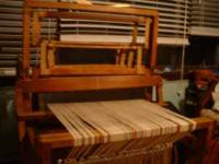 old weaving loom warped and ready to go. comes with