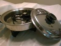 "WEBALCO  11"" ELECTRIC OIL CORE SKILLET FRY PAN+LID,"