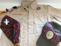 Webelos youth medium shirt, ascot, and hat. Youth sized