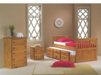 SOLID WOOD CAPTAIN'S BED WITH TRUNDLE & STORAGE! IN