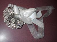 "9"" Wedding Bouquet Faux Pearls & Crystal This was"