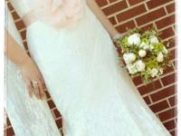 Ivory, lace, size 10-12 wedding gown. Also have the