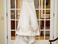 Stunning, off-white wedding event bridal dress with