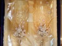 1.- Crystal Wedding Flutes, decorated. In original box