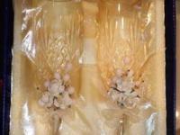 1.- ELEGANCE Gold Plated Crystal Goblet Set Cf2,