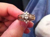 3/4 to 1 karat diamond ring. The ring is 14 karat gold
