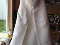DAVID'S BRIDAL SLEEVELESS WEDDING DRESS SIZE 14 TRAIN