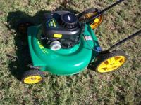 "Weedeater hi wheel push mower, 22"" cut, 5.5 hp. briggs"