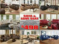 Sectionals from only $298!  Sofa and loveseats from