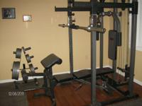 Weider workout station with Olympic bar and