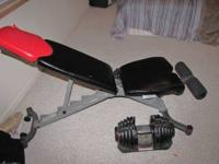 Bowflex weight bench w/ adjustable weights. Call