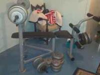 Newer weight bench for sale, including all weights