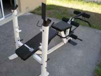 Rock Fitness weight bench, comes with leg attachments