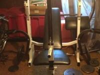 Total sale includes: Weight bench, 2 barbells, 4