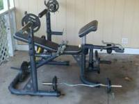 Golds gym weight bench and weights barely used. Comes