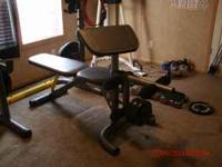 Golds Gym bench and rack. Fitness Gear power tower, not