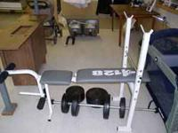 Weight bench and weights in great shape looks almost