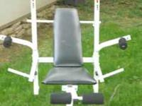 weight bench, practically brand new, bar, 100lbs in