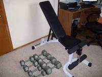 Powerline weight bench with dumbbells 2 x 45 2 x 35 2 x