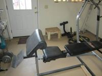 Adjustable weight bench with squat rack, arm curl