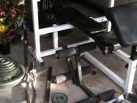 weight set adjustable for flat or incline, squat, dips,