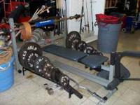 Ivanko bar weight set-up for sale; includes bench press