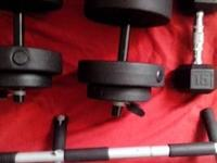 two interchangeble 20lbs dumbells, and a 15 lbs