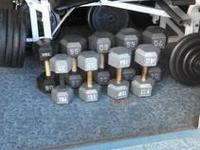 Free weights (1) 70 lb, (1) 65, (1) 60, (1) 55, (1) 50,